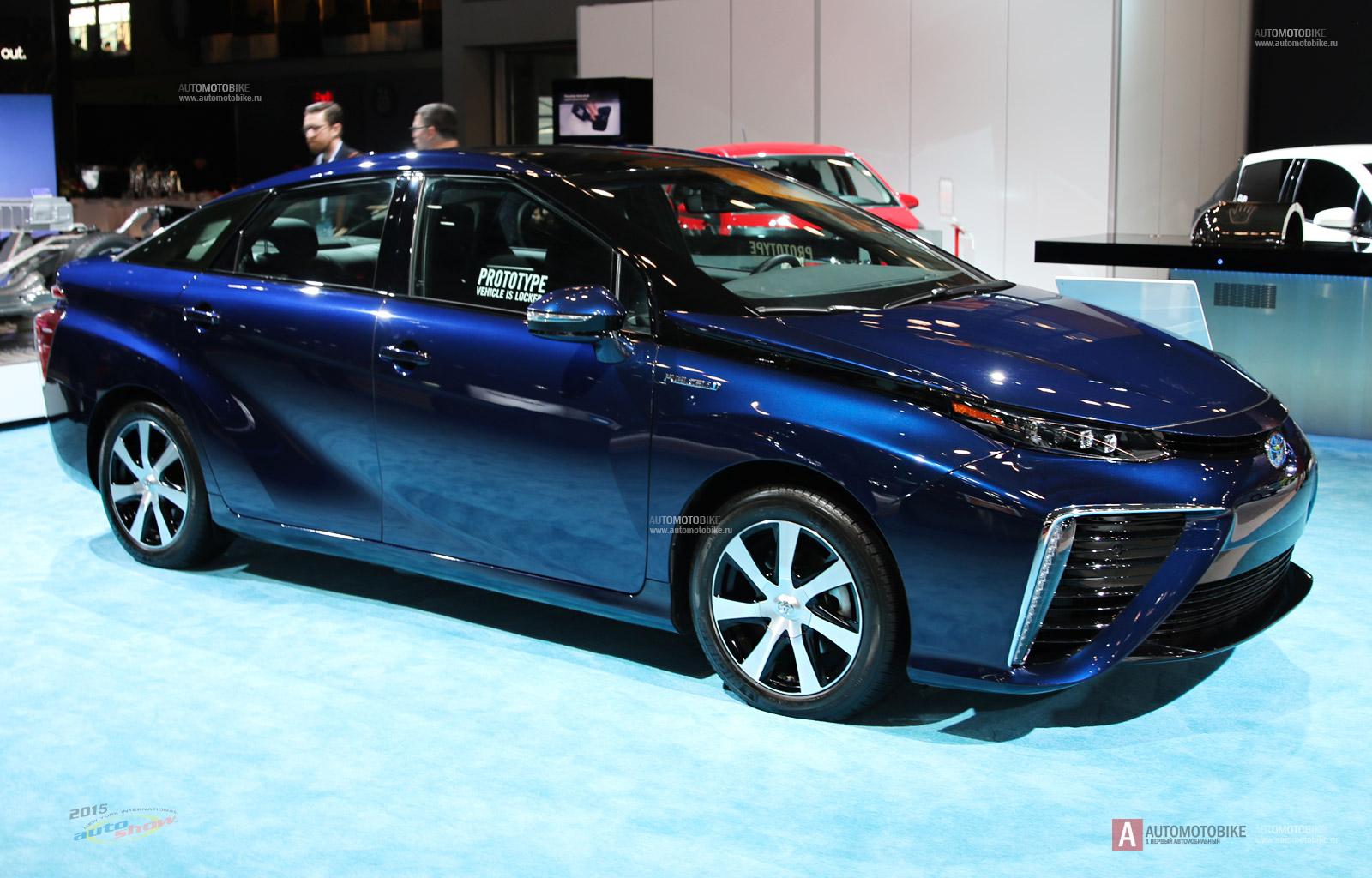2015 Toyota Mirai обзор водородного автомобиля на автосалоне в Нью Йорке 2015 года. Автопортал Автомотобайк - обзор автомобилей