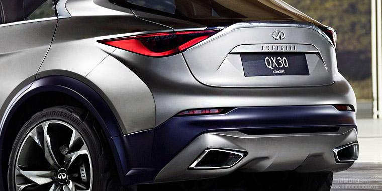 Японская компания Infiniti опубликовала первую фотографии нового стильного концептуального кроссовера QX30, дебют которого состоится на автосалоне в Женеве в марте этого года.