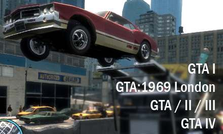 GTA I, 1969, II, III (Vice City, San Andreas), IV